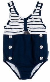Le Top Little Girls Navy Blue Striped One Piece Swimsuit with Nautical Buttons