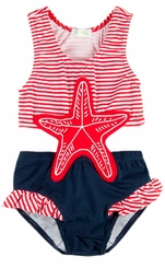 Le Top Little Girls Swimsuit - Starfish Monokini - sold out