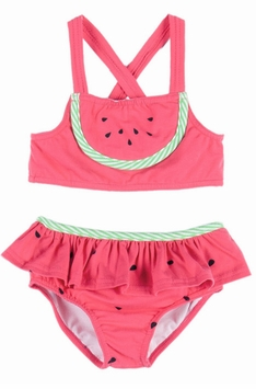 Le Top Little Girls Watermelon Red Skirted Swimsuit
