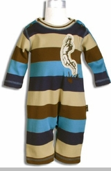 Le Top - Newborn Boys Cotton Varsity Striped Coverall
