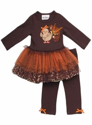 Rare Editions Turkey Tutu Set - Brown Leopard