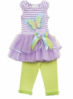 Lilac Stripe Butterfly Applique Tutu Legging Set