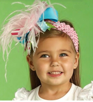 Lily Pad Ostrich Girls Stretch Party Headband - NEW