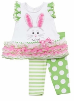 Lime Sparkle Bunny Easter Tutu Legging Set