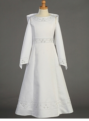 Lito Girls Communion Dress  - White Beaded Satin with Shawl  SOLD OUT