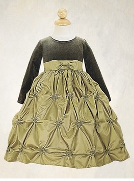 Lito Girls Party Dress - Olive Taffeta - out of stock