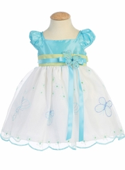 Lito Girls Spring Dress - White / Blue Butterfly Dress  SIZE 7 FINAL SALE
