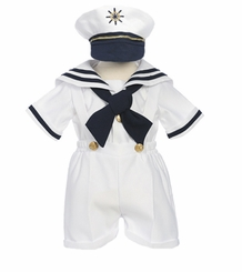 Little Boys Sailor Suit -  WHITE 4 Pc  with Hat  SOLD OUT