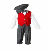 Little Darling Boys Holiday Knicker Set with Red Velvet Vest
