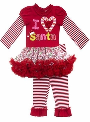 "Newborn Baby Girls Christmas Outfit -  ""I Heart Santa"" Tutu Legging Set"