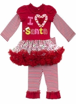 "Girls Christmas Outfit -  ""I Heart Santa"" Tutu Legging Set"