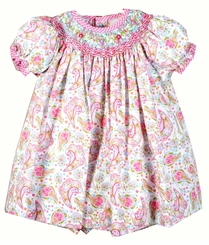 Little Girls Floral Garden Smocked Toddler Dress