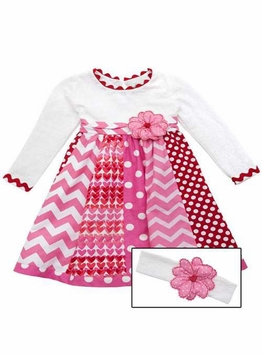 Girls Mixed Print Valentine's Day Dress  Sizes 2T - 6X
