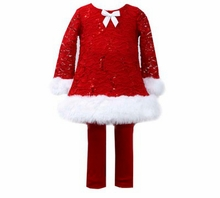 Little Girls Holiday Outfit Red Lace Velour Pant Set