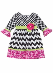Little Girls Mixed Print Chevron Fuchsia Trim Dress