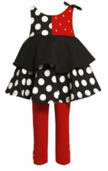 Little Girls: Newborn Red Black White Dot Tiered Pant Set with Studs