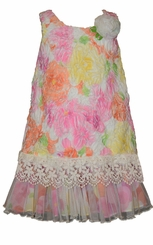 Little Girls Pink Floral Bonaz Dropwaist Dress