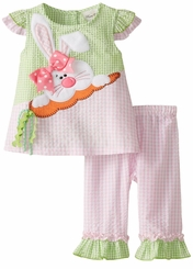 Rare Editions Little Girls Pink Lime Bunny Seersucker Capri Set