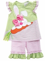 Little Girls Pink Lime Bunny Seersucker Capri Set