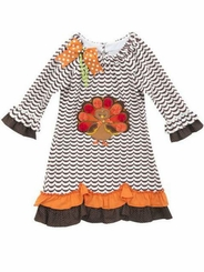 Little Girls Thanksgiving Dress - Chevron Turkey Dress