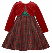 Little Girls Traditional Plaid Holiday Dress with Red Cardigan