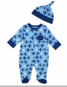 Little Me Baby Boys Airplane Footie and Hat Set