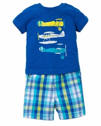 Little Me Baby Boys Airplane T-Shirt and Short Set