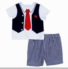 Little Me Baby Boys Anchor Tie Short Set