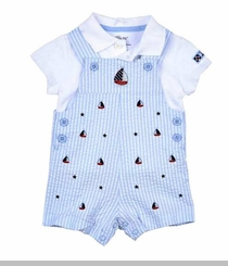 Little Me Baby Boys Blue Stripe Sailboat Shortall