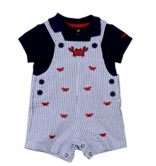 Little Me Baby Boys Crab Shortall Set