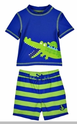 Little Me Baby Boys Crocodile Swim Trunks and Rashguard Set