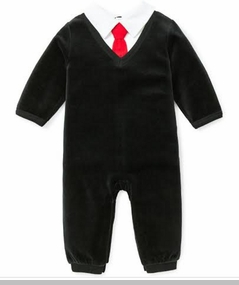 Little Me Baby Boys Formal Black Overall