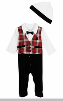 Little Me Baby Boys Formal Holiday Tartan Footie and Hat Set