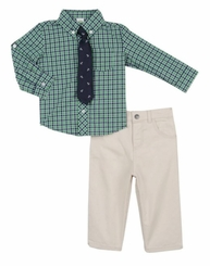 Little Me Baby Boys Green Plaid Shirt, Tie and Khaki Pant Set
