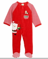 Little Me Baby-Boys Ho Ho Ho Velour Santa Footie