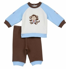 Little Me Baby Boys Monkey Quilted Pant Set