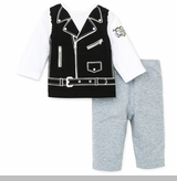 Little Me Baby Boys Motorcycle Vest Novelty Pant Set