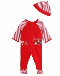 Little Me Baby-Boys My 1st Christmas Train Footie and Hat Set