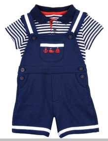 Little Me Baby Boys Nautical Mariner Polo Shortall