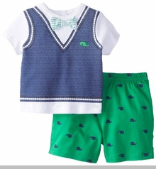 Little Me Baby-Boys Newborn Whales Short Set