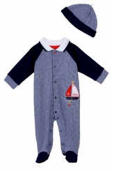 Little Me Baby Boys Sailboat Footie and Hat Set