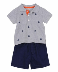 Little Me Baby Boys Sailboat Short Set
