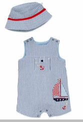 Little Me Baby Boys Sailboat Shortall and Hat