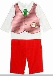 Little Me Baby-Boys Santa Christmas Vested Pant Set