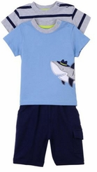 Little Me Baby Boys Shark 3pc Pant Set