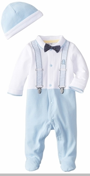Little Me Baby Boys Suspender Bow Tie Footie and Hat - SOLD OUT