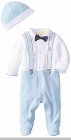 Little Me Baby Boys Suspender Bow Tie Footie and Hat
