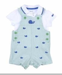 Little Me Baby Boys Whale Shortall Set