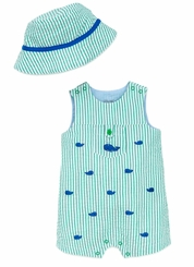 Little Me Baby Boys Whale Sunsuit with Hat