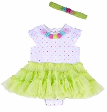 Little Me Baby Girl Multi Heart Tutu Popover with Headband 2pc Set